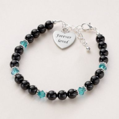 Black Pearl Personalised Birthstone Bracelet | Someone Remembered